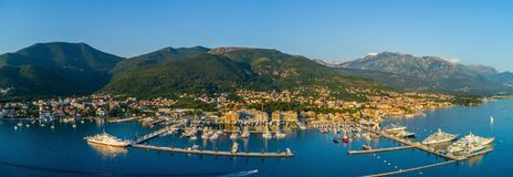 Aerial panoramic view of the evening in Porto Montenegro in Tivat.  royalty free stock photo