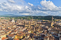 Aerial panoramic view of Florence from one of many towers, Tuscany Royalty Free Stock Photography