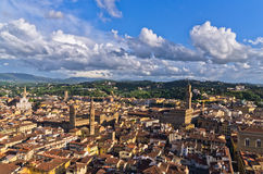 Aerial panoramic view of Florence from one of many towers, Tuscany Royalty Free Stock Images