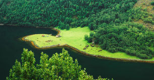 Aerial panoramic view of forest and shore of the Royalty Free Stock Image