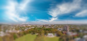 Aerial panoramic view of Forsyth Park in Savannah, Georgia stock image