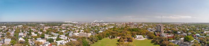 Aerial panoramic view of Forsyth Park in Savannah, Georgia royalty free stock image