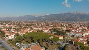 Aerial panoramic view of Forte dei Marmi skyline on a sunny winter morning, drone perspective. Tuscany - Italy stock photography