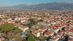 Aerial panoramic view of Forte dei Marmi skyline on a sunny winter morning, drone perspective. Tuscany - Italy royalty free stock image