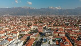 Aerial panoramic view of Forte dei Marmi skyline on a sunny winter morning, drone perspective. Tuscany - Italy stock photo