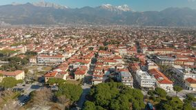 Aerial panoramic view of Forte dei Marmi skyline on a sunny winter morning, drone perspective. Tuscany - Italy stock images