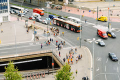 Aerial Panoramic View Of High Traffic And People In Downtown Barcelona City Of Spain. BARCELONA, SPAIN - AUGUST 05, 2016: Aerial Panoramic View Of High Traffic stock photo