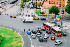 Aerial Panoramic View Of High Traffic And People In Downtown Barcelona City Of Spain Royalty Free Stock Photo