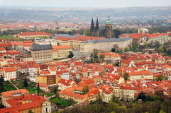 Aerial panoramic view of the historic center of Prague. Royalty Free Stock Photography