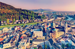 Aerial panoramic view of the historic city of Salzburg with Salz Royalty Free Stock Image
