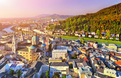 Aerial panoramic view of the historic city of Salzburg with Salz Stock Photo