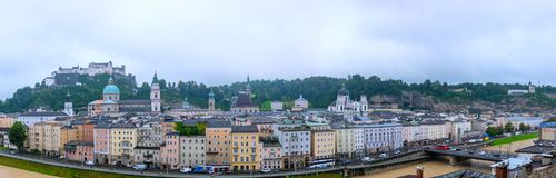 Aerial panoramic view of the historic city of Salzburg Stock Image