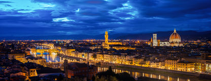 Aerial panoramic view of illuminated Florence, Italy Stock Images