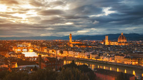 Aerial panoramic view of illuminated Florence, Italy Royalty Free Stock Images