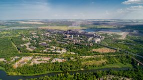 Aerial panoramic view of the industrial city of Krivoy Rog in Ukraine. Aerial panoramic view of the industrial city of Krivoy Rog in Ukraine Royalty Free Stock Images
