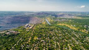 Aerial panoramic view of the industrial city of Krivoy Rog in Ukraine. Aerial panoramic view of the industrial city of Krivoy Rog in Ukraine Stock Images