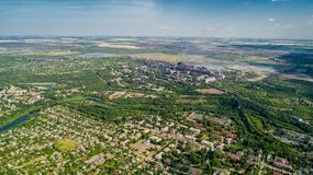 Aerial panoramic view of the industrial city of Krivoy Rog in Ukraine. Aerial panoramic view of the industrial city of Krivoy Rog in Ukraine Royalty Free Stock Photo