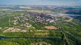 Aerial panoramic view of the industrial city of Krivoy Rog in Ukraine. Aerial panoramic view of the industrial city of Krivoy Rog in Ukraine Stock Photography