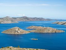 Aerial panoramic view of islands in Croatia with many sailing yachts between, Kornati national park landscape in the Mediterranean Stock Photos