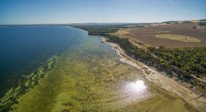Aerial panoramic view of Kangaroo Island coastline on bright sun Stock Photo