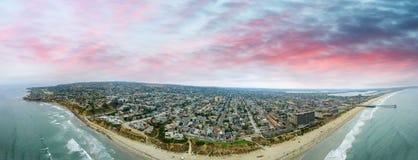 Aerial panoramic view of La Jolla Beach, San Diego Stock Photo