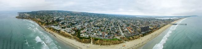 Aerial panoramic view of La Jolla Beach, San Diego.  royalty free stock photo