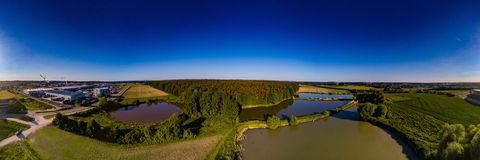 Aerial panoramic view of landscape with fish ponds near of Herzogenaurach in Bavaria. Germany Stock Photos