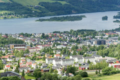 Aerial panoramic view of Lillehammer Stock Photos