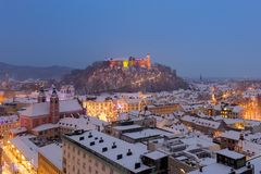 Aerial panoramic view of Ljubljana decorated for Christmas holidays, Slovenia, Europe. Royalty Free Stock Photo