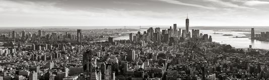 Aerial panoramic view of Lower Manhattan in Black & White, New York City Stock Photos