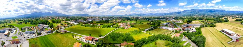 Aerial panoramic view of Lucca Countryside. City and mountains, royalty free stock photos