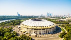 Aerial panoramic view of Luzhniki Stadium in Moscow Royalty Free Stock Images