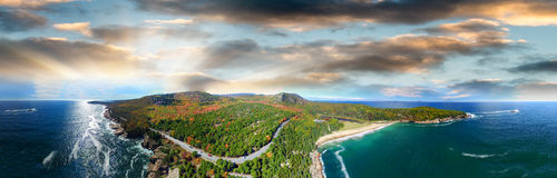Aerial panoramic view of Maine coast in autumn.  Royalty Free Stock Photos