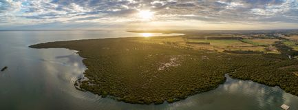 Aerial panoramic view of mangroves and agricultural fields near ocean coastline at beautiful sunset. Aerial panoramic view of mangroves and agricultural fields Royalty Free Stock Photography