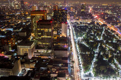 Aerial panoramic view of Mexico City with light trails stock image