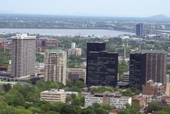 Aerial panoramic view of Montreal city in Canada Royalty Free Stock Photography
