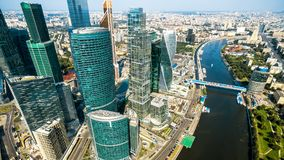 Aerial panoramic view of Moscow with Moskva River, Russia Royalty Free Stock Images