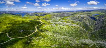 Aerial panoramic view of Mount McKay and Rocky Valley water storage. Australian Alps, Victoria, Australia. Aerial panoramic view of Mount McKay and Rocky Valley Royalty Free Stock Photos