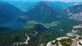 Aerial view of the landmarks in the mountains of Austria, Obertaun. Panoramic view of the observation deck 5 fingers stock footage