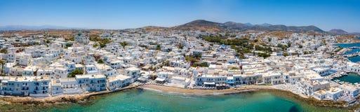 Aerial, panoramic view of Naousa on Paros island, Greece royalty free stock photo