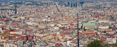 Aerial panoramic view on Naples city center, Italy. Royalty Free Stock Images