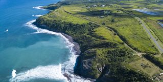 Aerial panoramic view of the North coast of St Kitts in the Cari Stock Images