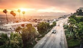 Aerial panoramic view of Ocean Ave freeway in Santa Monica beach Stock Photos
