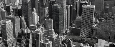 Aerial Panoramic View Of Manhattan Royalty Free Stock Photos