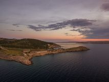 Free Aerial Panoramic View Of Stinica-Croatia,small Island With Ferry Terminal. Beautiful Seaside Landscape At Sunset. 7.7 Stock Photo - 137656400