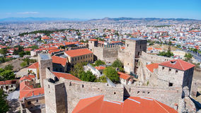 Aerial panoramic view of the old Byzantine Castle in the city of Stock Photography