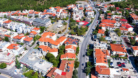 Aerial panoramic view of the old Byzantine Castle in the city of Stock Photo