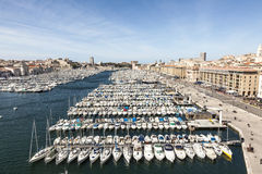 Aerial panoramic view on old port in Marseille Stock Photo