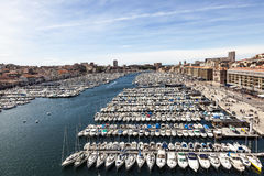 Aerial panoramic view on old port in Marseille Royalty Free Stock Images