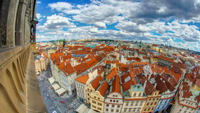 Aerial panoramic view of Old Town Square neighborhood timelapse in Prague from the top of the town hall stock video